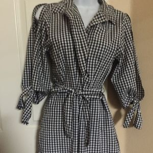 Gigham Shirt Dress with Tie Front